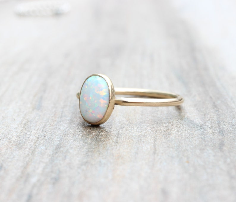 Lab Opal Ring  Gold Opal Ring  Oval Opal Ring  October Birthstone Stacking Ring  14K Gold Filled Opal Ring