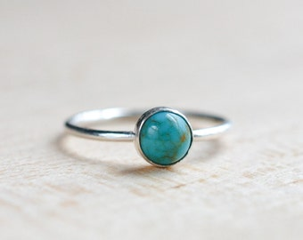 Sterling Silver Turquoise Ring - Genuine Turquoise Ring