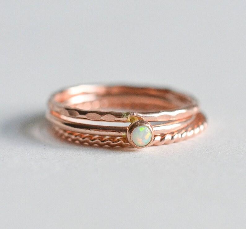 Rose Gold Opal Ring Set // 14K Rose Gold Filled White Opal image 0