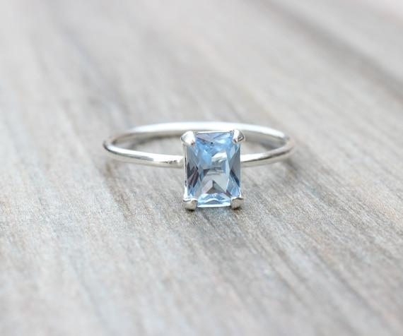 Natural Aquamarine Birthstone Ring-Aquamarine Stacking Ring-Aquamarine Bejal Dainty Ring-925 Sterling Silver-Jewelry Handmade Ring-US 4-10