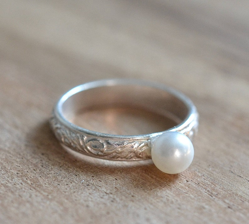 Freshwater Pearl Sterling Silver Ring  Sterling Silver Pattern Natural White Pearl Ring  June Birthstone Ring  Gift for Her Pearl Ring