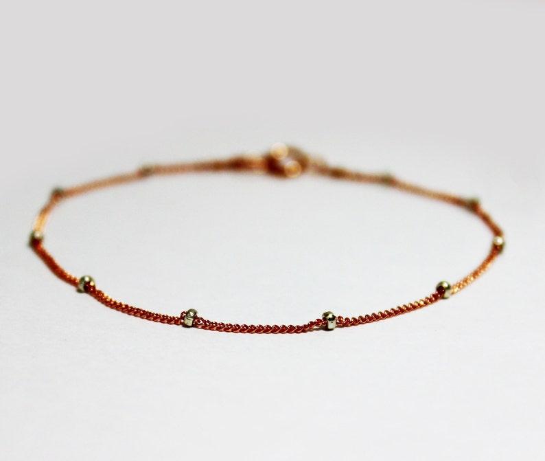 Bridesmaids Gift Satellite Bead Chain Bracelet Simple Rose Gold Bracelet Rose Gold Plated Sterling Silver Stacking Bracelet