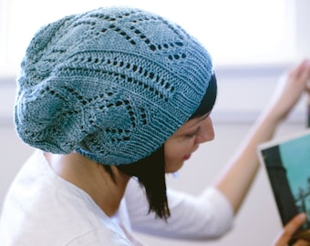 KNITTING PATTERN | Schwimmen - Lace Hat Slouchy Open Work Beanie Textured Toque - PDF