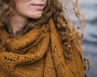 KNITTING PATTERN | Elfriede - Textured Cozy Rustic Modern Knit Asymmetrical Shawl - PDF