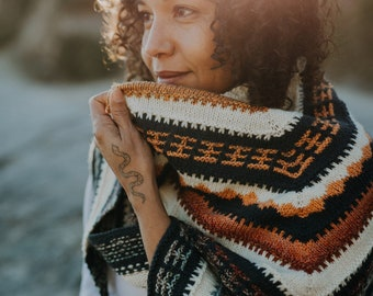 KNITTING PATTERN | Courage - Textured Mosaic Modern Triangle Worsted Shawl Scarf Wrap Worsted - PDF