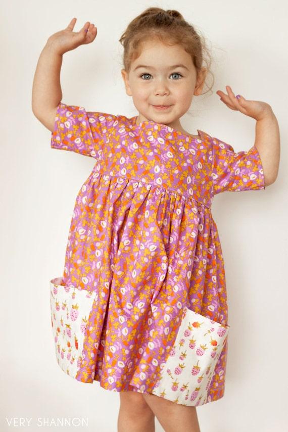 Sally Kleid nähen Muster Größe 2 t-8 Jahrgang modernen großen