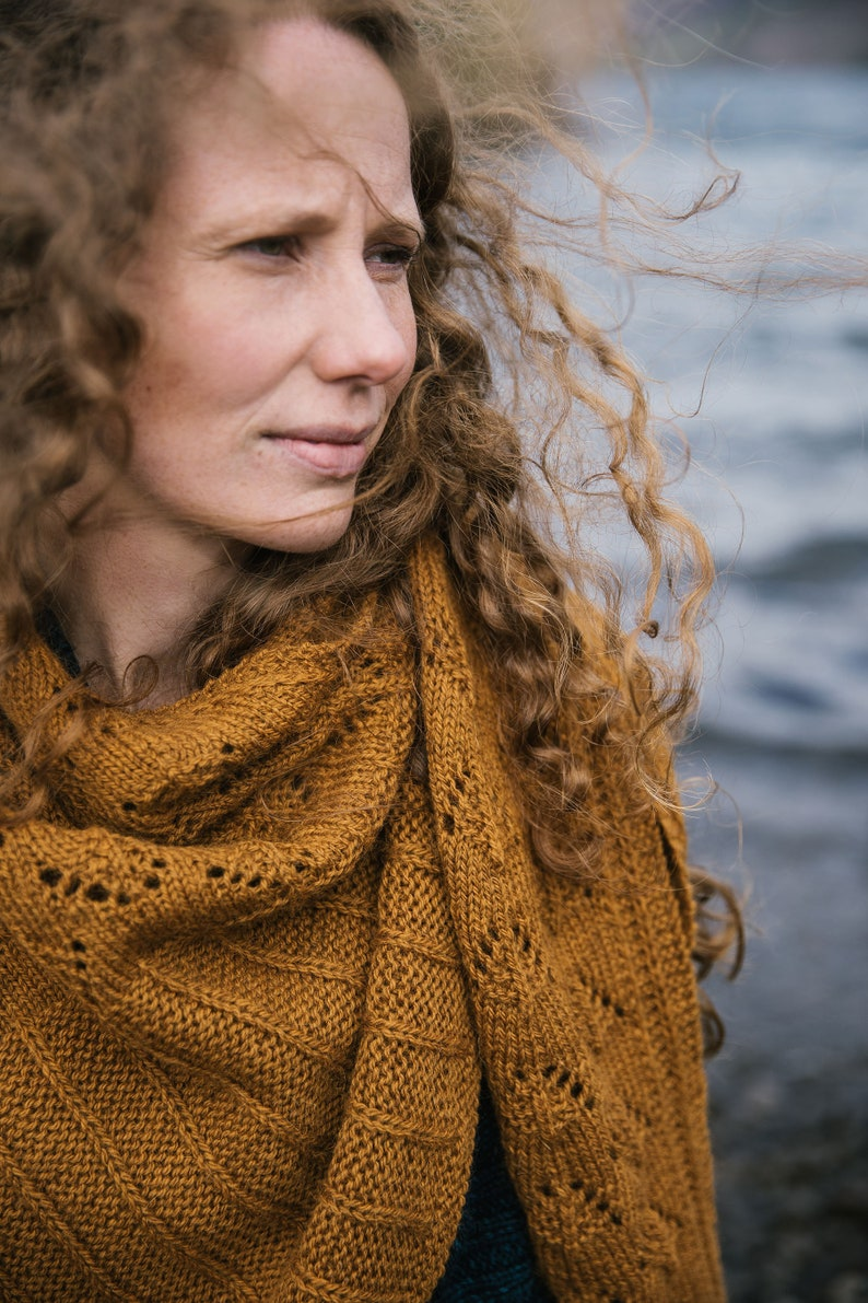 7452ef57a619 Elfriede Textured Cozy Rustic Knit Shawl PDF Knitting Pattern   Etsy