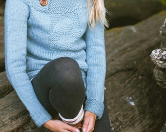 KNITTING PATTERN | Antrorse Pullover - Cozy Aran Sweater Funnel Button Neck Modern Chevron Arrow Textured Circular Yoke PDF