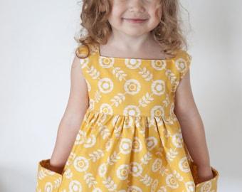SEWING PATTERN | Sally Dress - Vintage Modern Large Pockets Square Neckline No Closures Size 2T-8 - PDF