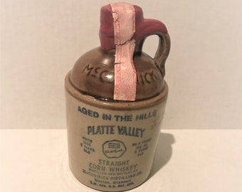 Vintage Platte Valley Straight Corn Whiskey Jug, 1/2 Pint