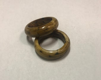 Vintage Heavy Wooden Bangle Bracelets, set of 2