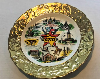Vintage Texas Souvenir Collectible Ceramic Plate