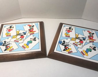 Vintage Mickey Mouse Ceramic and Wooden Trivets, set of 2