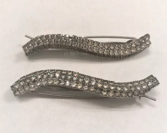 Large Vintage Rhinestone Prong-set Hairclips/ Barrettes- Silver Tone, set of 2