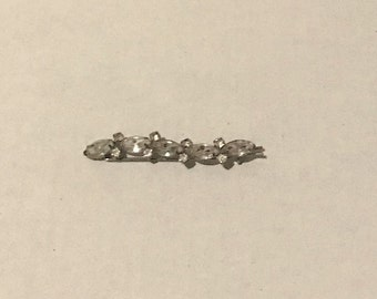 Vintage Rhinestone Prong-set Hairclip/ Barrette, Wave Design