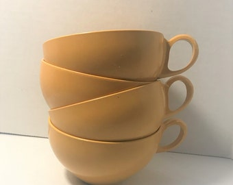 Mid-Century Modern Melamine Yellow Cups, set of 4