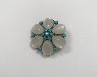 Vintage Faux Opal with Faux Turquoise Flower-Shaped Brooch/ Pin