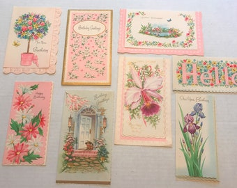 Set of 8 Vintage Birthday Cards with Envelopes, 1940s-1950s