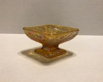 Vintage Indiana Marigold Carnival Glass Diamond Shape Pedestal Foot Candy Dish