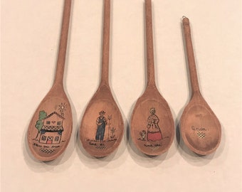 "Vintage Decorative Painted Wooden Spoons, ""Bless this House"", set of 4"
