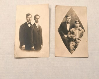 Vintage Photo Postcards from 1910-1920s Era- Two Men/ Brothers, set of 2