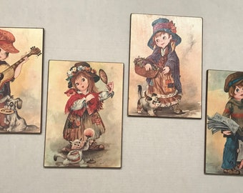 70s Kitsch Big Eyed Children Wall Hangings, 8x11 inches, set of 4