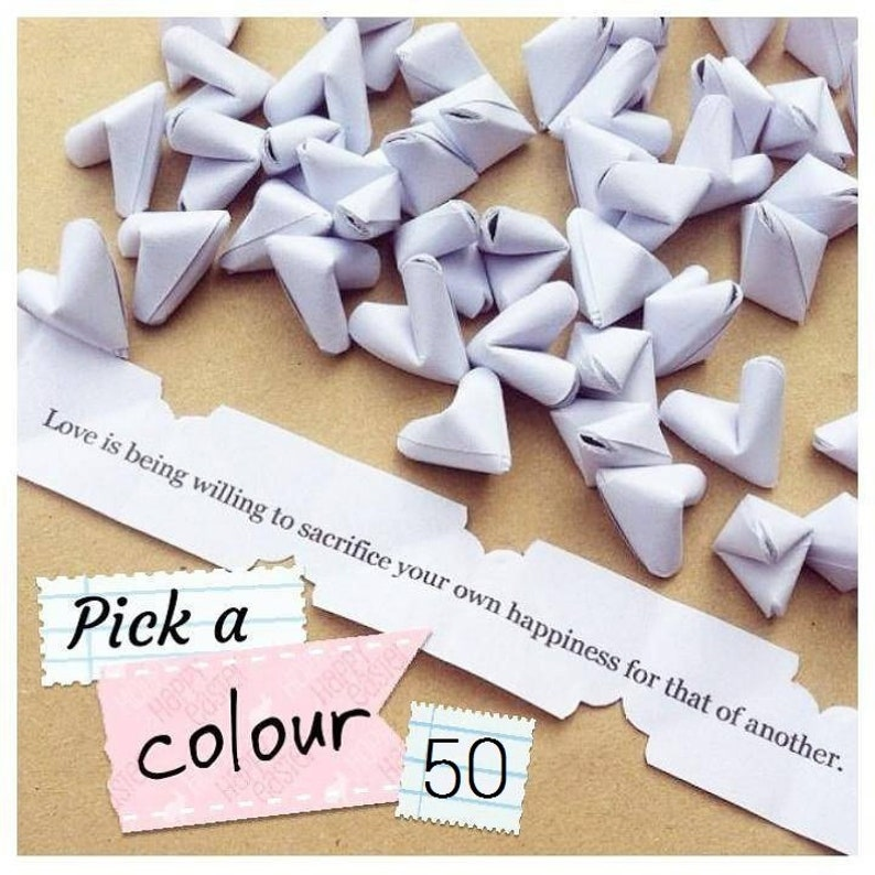 Wedding favour  50 small paper origami heart love messages  image 0