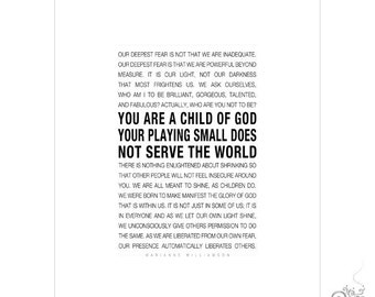 Child of God Quote Printable / Marianne Williamson Inspirational Quote Digital File / Dorm Room Decor // 5x7 / 8x10 / 11x14 JPG files