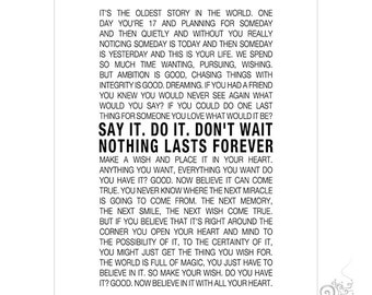 Brook Davis One Tree Hill Quote Print Nothing Lasts Forever Etsy
