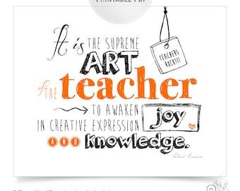 Teacher Appreciation Printable / Thank You Teacher / 5 PDF files bundle / Einstein Quotes / Unique Teacher Gifts under 10 // 8x10