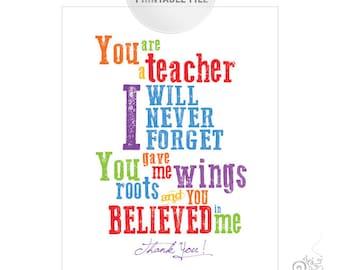 5x7 Colorful Teacher Appreciation Printable JPEG / Thank You Teacher Typography / End of Year Teacher Gift Ideas
