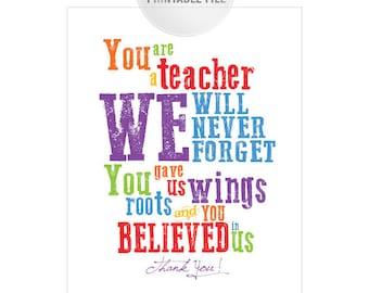 5x7 Rainbow Teacher Appreciation Printable from CLASS JPEG / Thank You Teacher Gift / End of Year Teacher Gift Ideas
