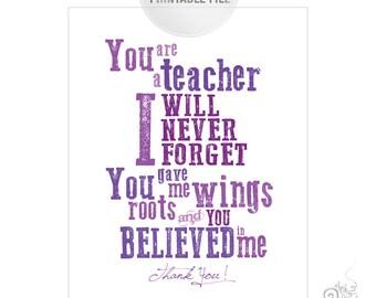 5x7 Purple Teacher Appreciation Printable JPEG / Thank You Teacher Typography / End of Year Teacher Gift Ideas