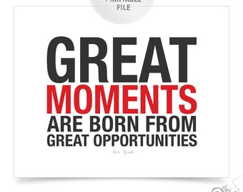 Great Moments Hockey Quote PRINTABLE / Hockey Coach Gift Ideas / Coach Herb Brooks // 16x20
