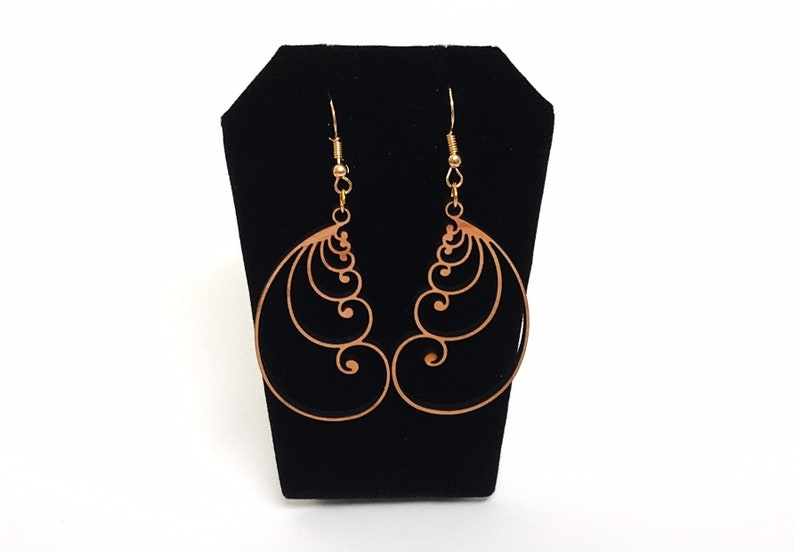 Stacked Golden Ratio Wood Earrings goldtone metal French hook Math in Nature Fibonacci Spiral