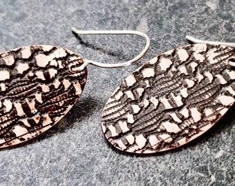 BOUNTY EARRINGS - Copper Earrings, Lace Pattern, Rustic Earrings, Artisan Jewelry, Abstract Earrings, Oval Dangle Earrings, CBE14