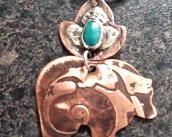 HARMONY TRIBAL Bear Pendant, Totem Animal, Bear Jewelry, Turquoise Jewelry, Mixed Metal Pendant, Bear Spirit, Earthy Jewelry, HTB28