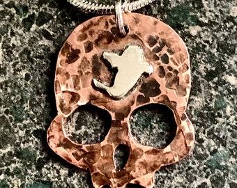 GHOST SKULL - Halloween Pendant, Skull Necklace, Hammered Copper Skull, Unisex Gothic, Halloween Skull Pendant, SP04