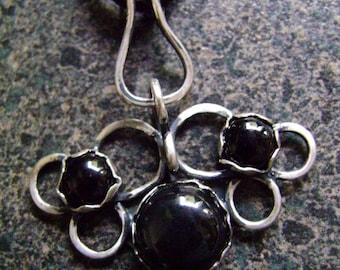 MYSTIQUE - Onyx Pendant, Black Onyx Necklace, Artisan Jewelry, Pendant, Goth Pendant, Filigree Sterling, Black Filigree Pendant, MRP31
