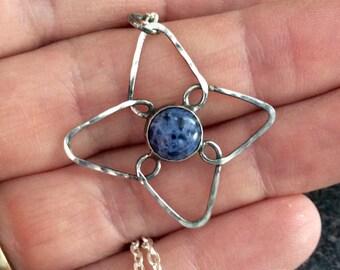 BLUE VIOLET - Flower Pendant, Sterling Silver Pendant, Silver Jewelry, Artisan Jewelry, Blue Sodalite, Christmas Gift, BP75