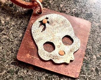 CRACKED SKULL - Halloween Pendant, Antiqued Sterling Skull Necklace, Artisan Jewelry, Unisex Sterling and Copper Skull Pendant, SP01