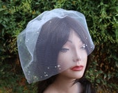 Bridal Blusher  Birdcage Tulle Veil with  Rhinestone Crystals Accents for Wedding