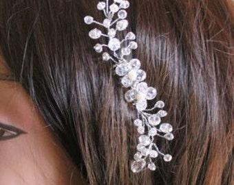 Bridal Swarovsky Crystals Silver Comb, Hair Crystal Fascinator, Wedding Accessories