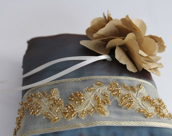 Wedding Bridal Lace Ring Bearer Pillow, Flower Bloom, Wedding Accessories,  Blue Bridal Pillow Gold  Embroidery