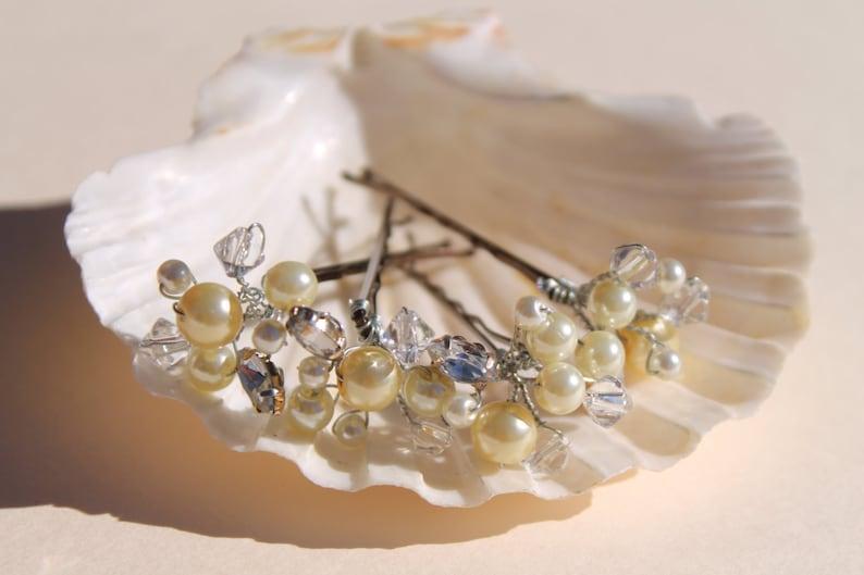 Hair Fascinator Wedding Head Piece Wedding Pins Bridal Head Piece Vintage Bridal Pins Pearl Clip Beach Wedding Crystal Clip
