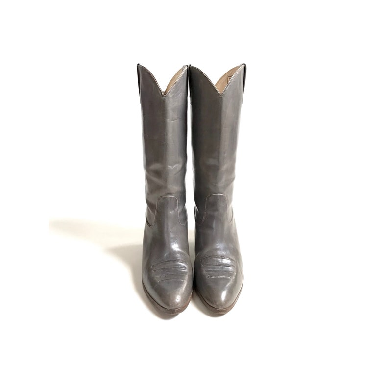 e048bcf5cc6 Vintage // Grey Leather Western Boots, Women's US Size 5.5, Made in Italy  // 1980s