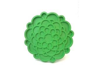 Lime Green Chrysanthemum Trivet // Vintage