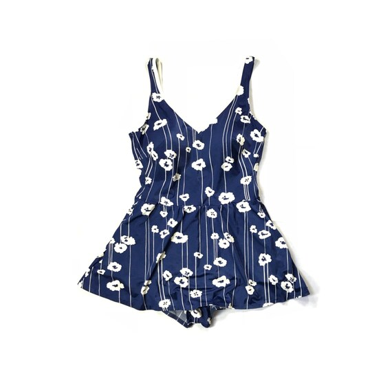 Vintage // Floral Full Skirt Swim Suit // 1970s