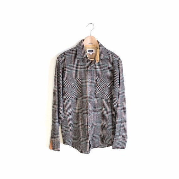 Collar Pockets  Workman/'s Shirt Vintage  SHELTER BAY by Arrow Wool Plaid Work Shirt  Long Sleeve Button Front Mens M  1980s