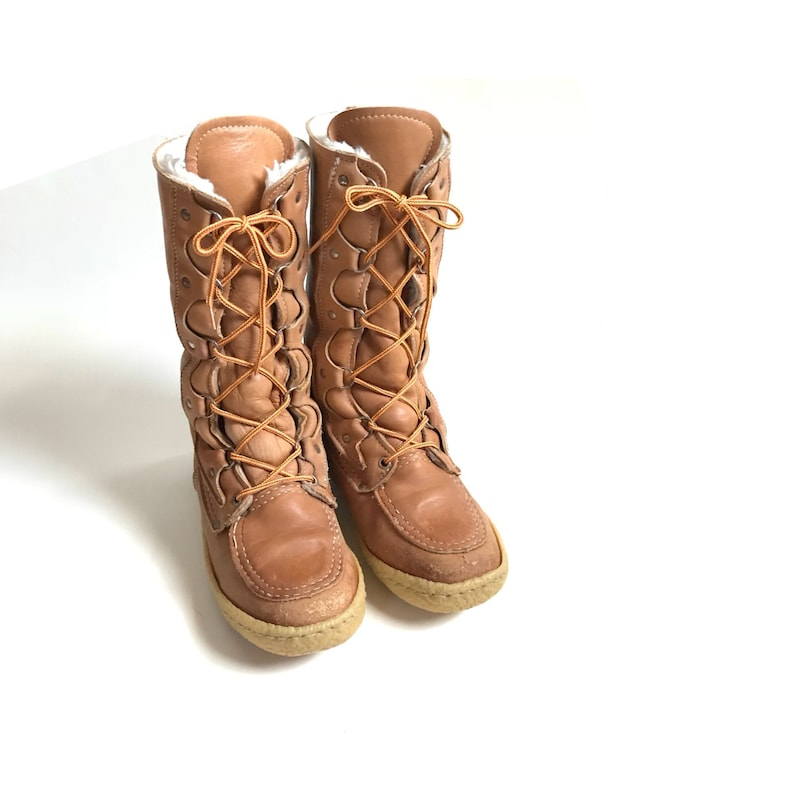 0b7a9ce6b56f8 Vintage // Cabela's Leather & Gum-sole, Wool Fleece-lined, Caramel Leather,  Lace-up-Style Winter Boots // 1960s